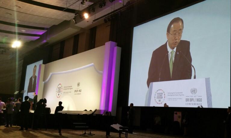 SG Ban Gi-Moon speaking at the Opening