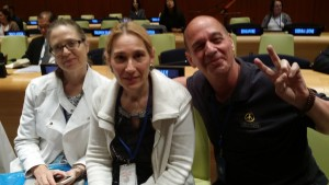 Julia, Denise, and Jean, members of the International Day of Yoga Committee at the UN, attending the event