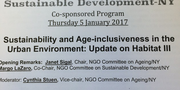 Sustainability & Age – Inclusiveness in the Urban Environment: Update on Habitat III