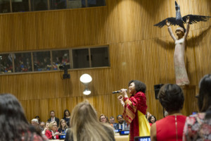 Jayna Brown performs at the opening of IWD 2017 (UN photo Rick Bajornas)