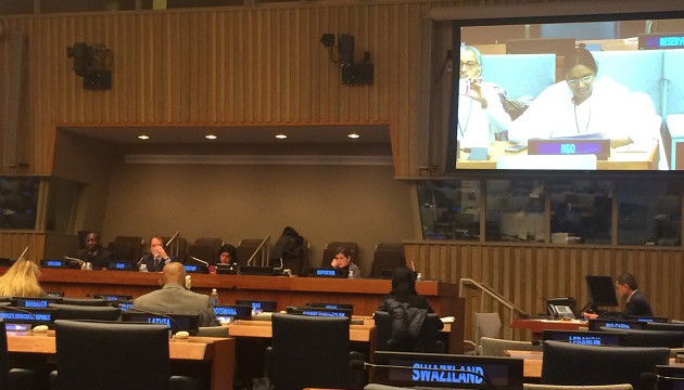 BK Kinnari giving oral statement during the Commission on Social Development
