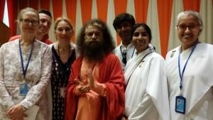 BK Julia, Paul Luftenegger, Denis Scotto, Chair of the International Day of Yoga Committee to the UN, Swami Chidanand Saraswatiji, BK Shashank, BK Madhavi, BK Sabita at IDY 2017 at UNHQ