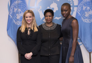 Phumzile Mlambo-Ngcuka (centre), Executive Director, UN Women, poses for a photo with Danai Gurira (right), Tony-nominated playwright, actor and activist, and Reese Witherspoon, Academy-award winning actor and activist